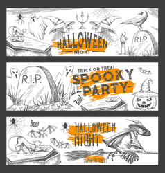 Halloween night sketch party banners vector