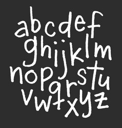 Lowercase chalk alphabet hand drawn font vector