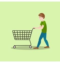 Man with shop cart cartoon vector