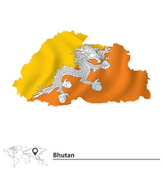 Map of bhutan with flag vector