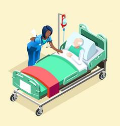 Medical black nurse talking with patient vector