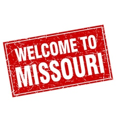 Missouri red square grunge welcome to stamp vector