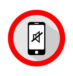 Mobile phone ringer volume mute sign vector