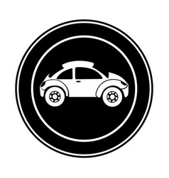 Monochrome circular frame with sports car in side vector