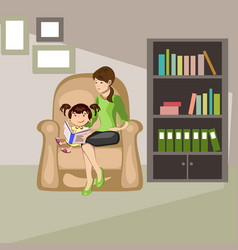 mother read book to child vector image