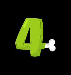 Number 4 zombie monster font four bones and vector
