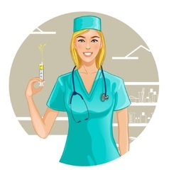 Nurse with syringe eps10 vector image vector image