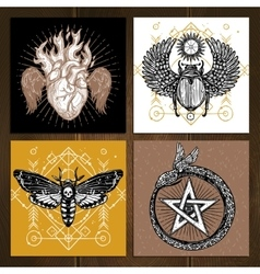 Occult tattoo set vector
