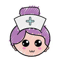 Professional nurse face with hat in the head vector