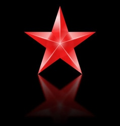 Red star on black background vector