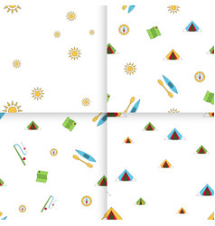 Seamless pattern camping set vector
