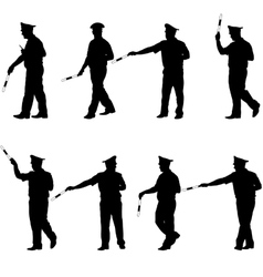 Set black silhouettes Police officer with a rod vector image vector image
