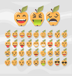 Set of cute fruit smiley apple emoticons vector