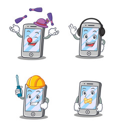 Set of iphone character with juggling headphone vector