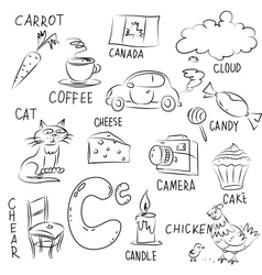 Set of pictures on Alphabet theme vector image vector image