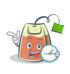 Tea bag character cartoon with clock art vector