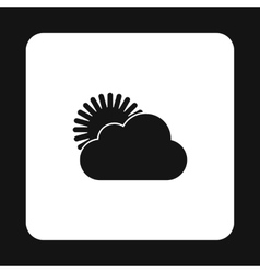 The sun appears from behind the clouds icon vector