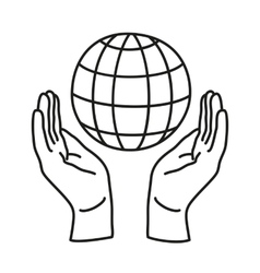 Two Hands Holding Earth vector image