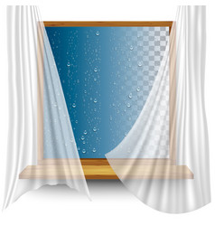 wooden window frame with curtains and water vector image