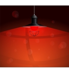 Ancient black lamp hanging with red bulb big and vector