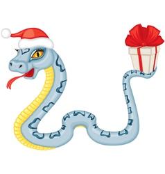 Cartoon serpent gives a gift vector image