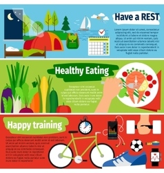 Healthy lifestyle banners vector image