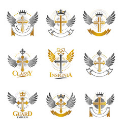 Crosses of christianity religion emblems set vector