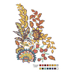 cross stitch flowers ready-made template for vector image