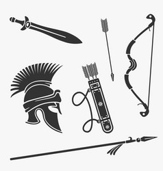 Element set ancient weapon and armor vector