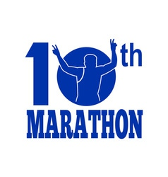10th marathon run race runner vector