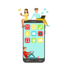 Young man and woman sitting on a big smartphone vector