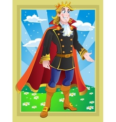 Prince on the fairytale landscape vector
