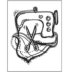 Sewing on a sewing machine vector