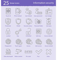 25 linear icons set vector image vector image