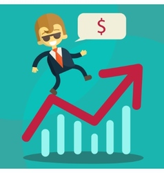 Cheerful businessman climbing a bar chart vector