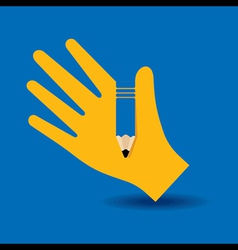 Human hand with pencil symbol concept vector