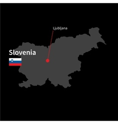 Detailed map of slovenia and capital city vector