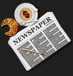 Newspaper with cappuccino cup and croissant vector