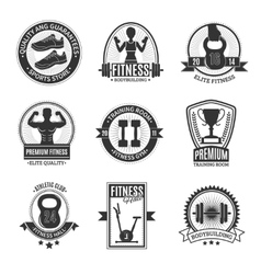 Fitness club black and white badges vector