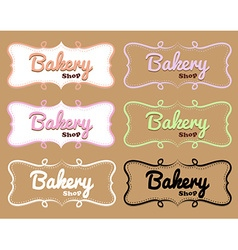 Bakery shop label in different designs vector