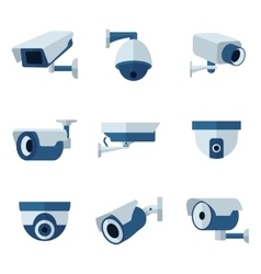 Security camera cctv flat icons set vector