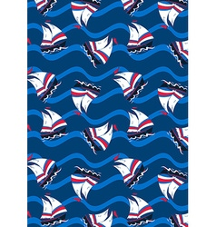 Sailing boats on waves in a repeat pattern vector