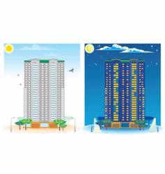 Multistoried house day and night vector