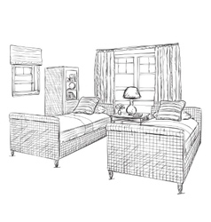 Modern double bedroom with furniture vector