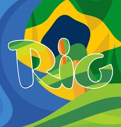 Abstract rio logo over brasil national colors vector