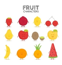 Fruit set strawberry pomegranate lemon cherry vector