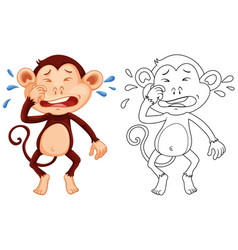 Animal outline for monkey crying vector