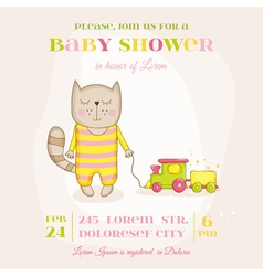 Baby girl cat with a train - baby shower card vector