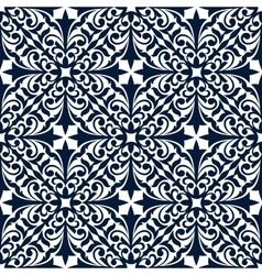 Blue and white floral arabesque seamless pattern vector