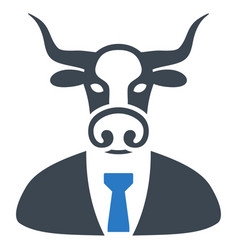 Bull boss flat icon vector